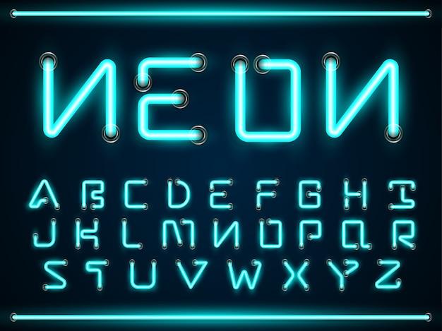 Blue neon light glowing fonts set, a-z alphabet text symbols