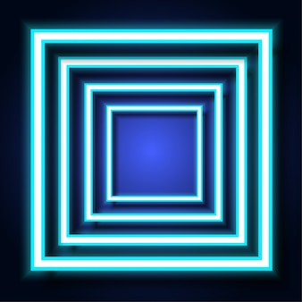 Blue neon light square frame on background.