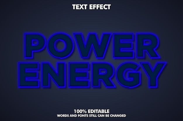 Blue neon light text effect