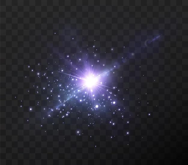 Синий неоновый свет на прозрачном