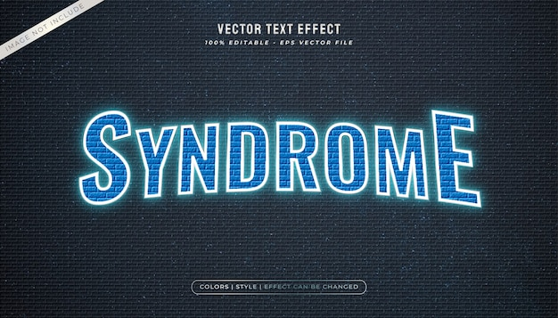 Blue neon lights text style with wall texture and glowing effect
