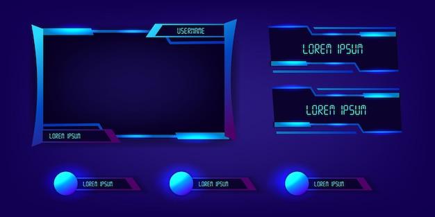 블루 네온 라이브 스트림 게임 e스포츠 프레임 패널 현대 기술 사이버 미래형 디스플레이 우아한