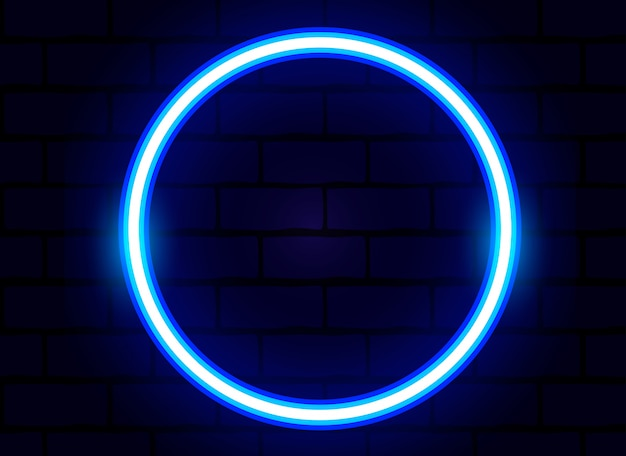 Blue neon ring vector