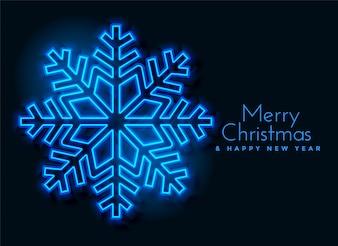 Blue neon snowflakes background design