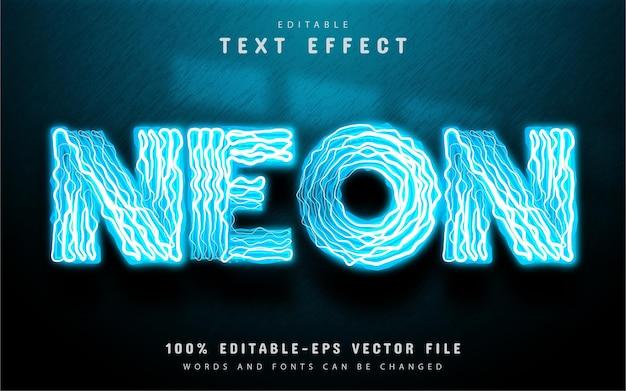 Blue neon text effect editable