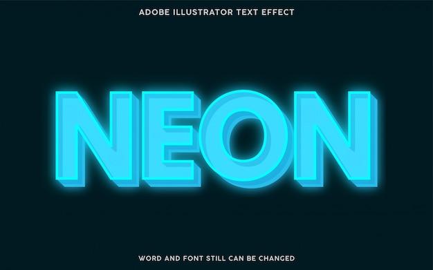Синий неоновый текстовый эффект