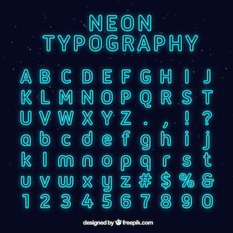 Blue neon typography