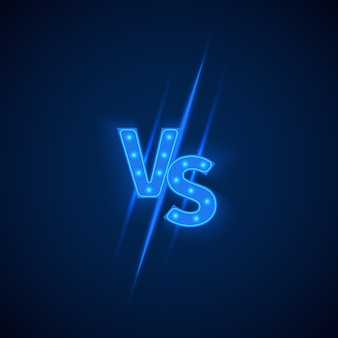 Blue neon versus logo vs letters for sports and fight competition.
