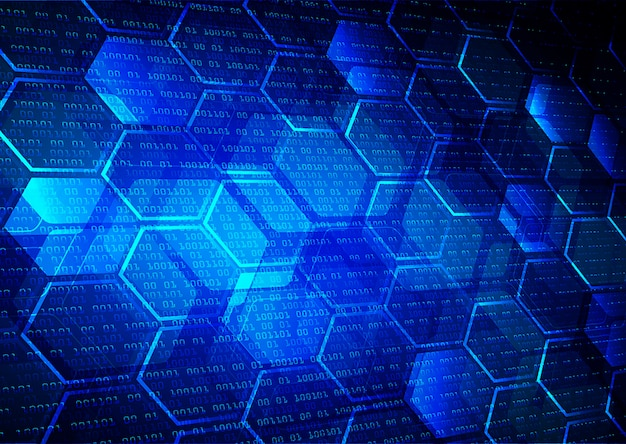 Blue net hexagon cyber circuit future technology concept background