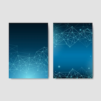 Blue neural network illustration collection