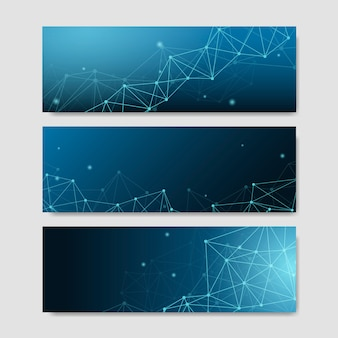 Blue neural texture abstract set vector