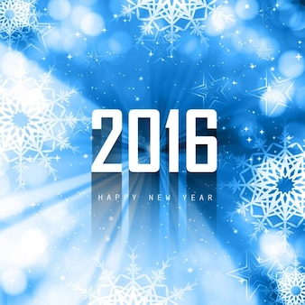 Blue new year 2016 background with snowflakes