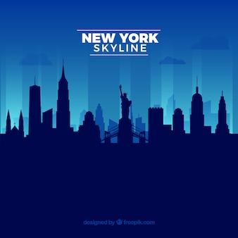 Blue new york skyline