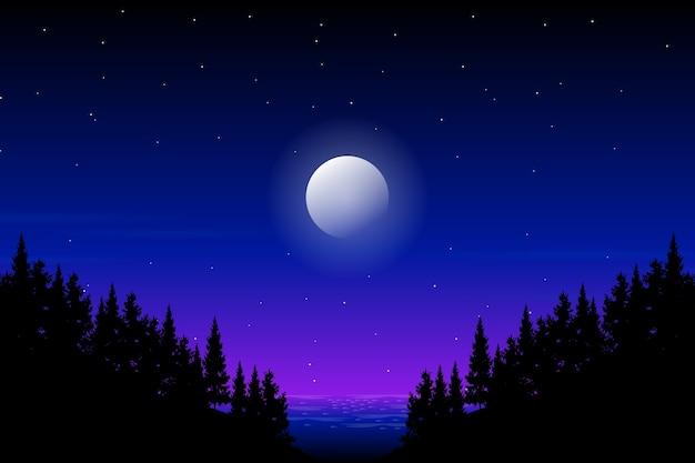 山の風景に松の木のシルエットと青い夜空