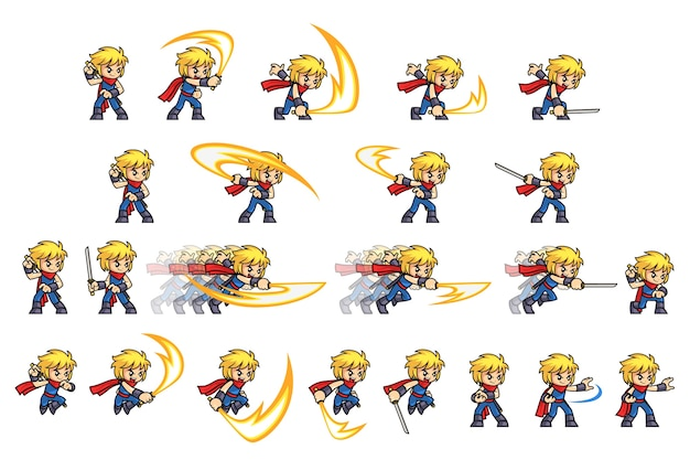 Blue ninja boyアタックゲームスプライト