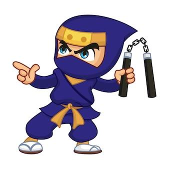 Blue ninja with nunchaku