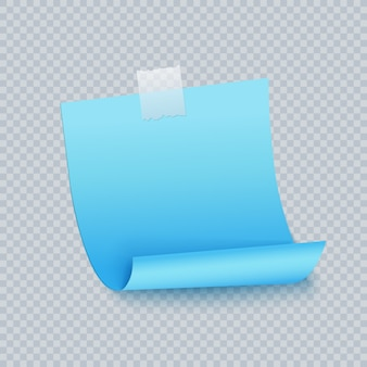 Blue note sticky sheet with adhesive tape and shadow. sticker paper blue color note for reminding, list, info.