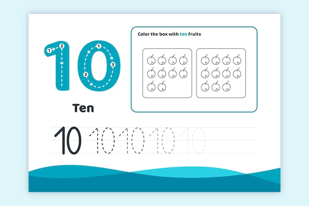 Синий рабочий лист номер десять