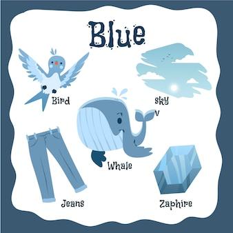 Oggetti blu e parole del vocabolario