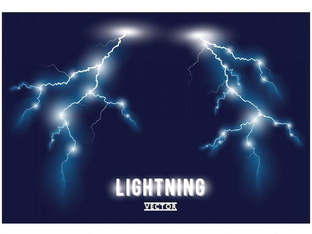 Blue oblique branchy lightning lines. .