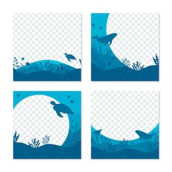 Posta blu del instagram del ristorante dell'oceano