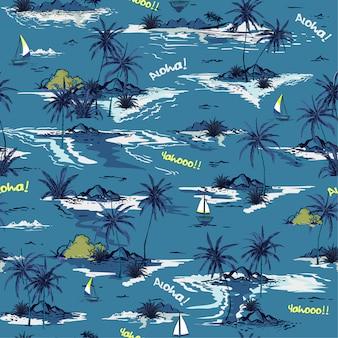青い海のシームレスな島のパターン
