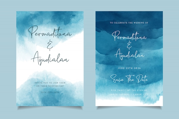 Blue ocean watercolor wedding invitation design