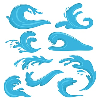 Blue ocean waves, water drops and splashes vector symbols