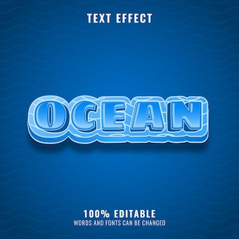 Blue ocean with wave pattern text effect