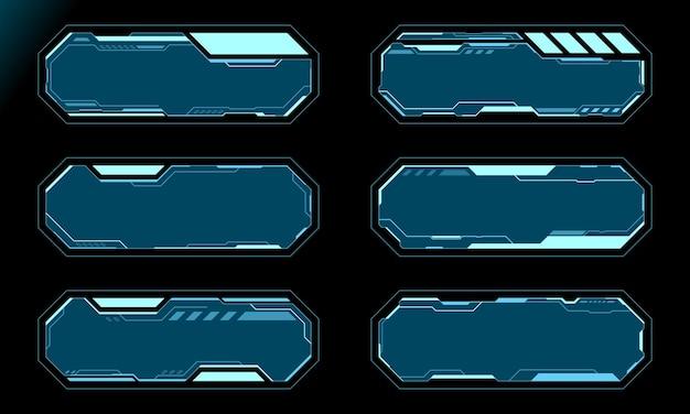 파란색 팔각형 프레임 세트 기술 미래 인터페이스 hud