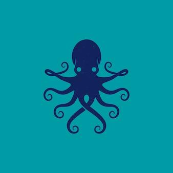 Дизайн логотипа животных синий осьминог