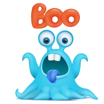 Blue octopus cartoon alien monster saying boo.
