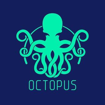 Концепция логотипа синий осьминог