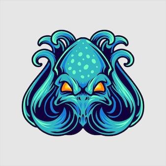 青いタコのロゴのマスコット