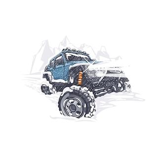 青いオフロード車が雪の降る冬の困難を乗り越えます