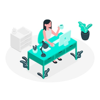 Blue office girl isometric style