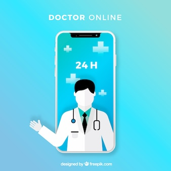 Blue online doctor design with smartphone