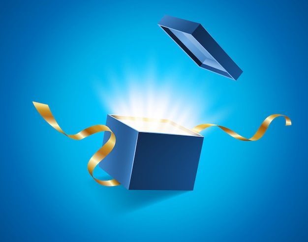 Синяя открытая 3d реалистичная подарочная коробка с волшебным сияющим сиянием и летающими золотыми лентами