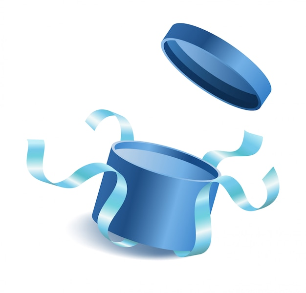 Blue opened 3d realistic round gift box with flying off cover and ribbons and place for your tex