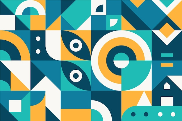 Blue and orange abstract geometric shapes flat design