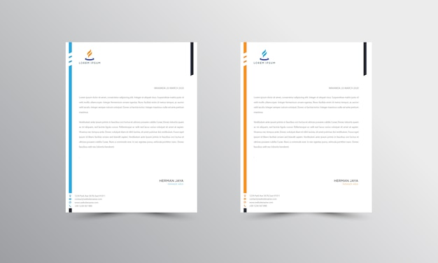 Blue and orange abtract letterhead  template