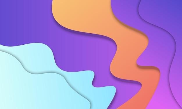 紙のカットスタイルの背景に波状の青オレンジと紫のグラデーション