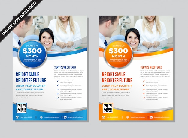 Blue and orange business flyer template.