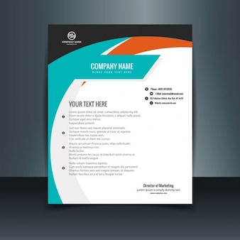 Blue and orange business letterhead