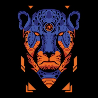 Blue and orange cheetah head in black background