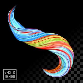 Синий оранжевый цифровой цвет краски фона. творческий яркий поток 3d жидкой краской волны.
