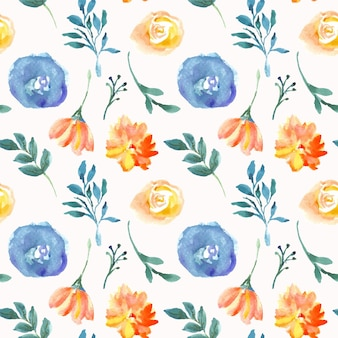 Blue and orange floral watercolor seamless pattern
