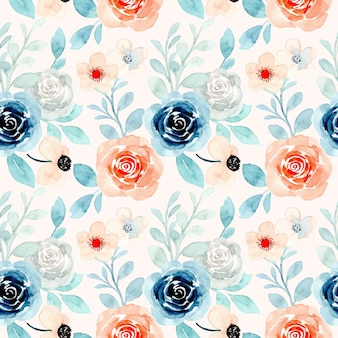 Blue orange floral watercolor seamless pattern