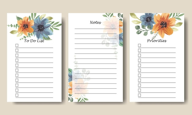 Blue orange florals watercolor to do list notes template printable