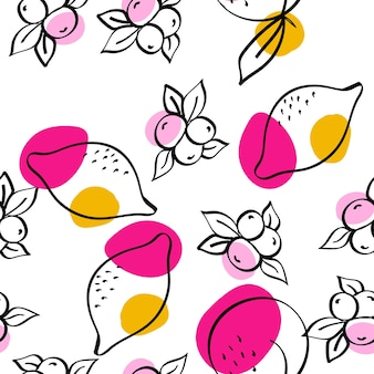 Blue and orange lemon vector white seamless pattern. cute fruit print. bright apricot and lime line wallpaper.